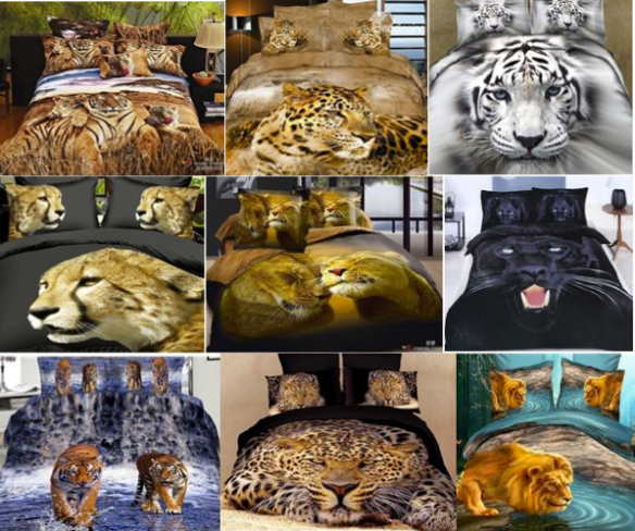 3D bedding, digital Prints, Big cats, Tigers, Lions, Leopards, Cheetahs, Panther, bedsheets, home