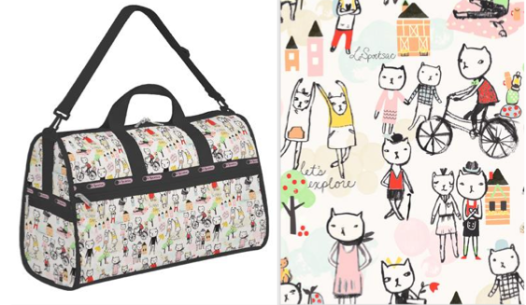 cats, cat prints, le sport sac, feline print bags