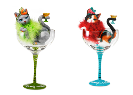 Cats, cat themed glasses, martini glasses, Hiccup H2Z, margarita, cosmopolitan, calico cats,