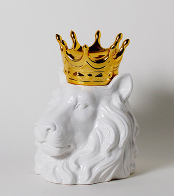 IMM Living, Crowned Head Containers, Lion Head, Home, Gold Crown, Cookie Jar,  Desgin