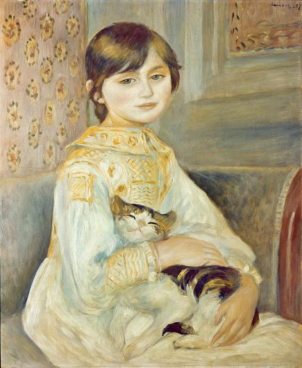 Cats, Art, History, Impressionism, Renoir, Julie Manet, Child with Cat