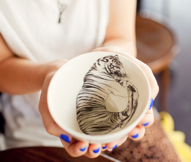 CatCup,Tiger, Tea Cup, Baskakova, Etsy, handmade