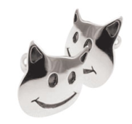 Cats, cufflinks, handmade, recycled, sterling silver, Adrian Keefe Designed by Sam Wright