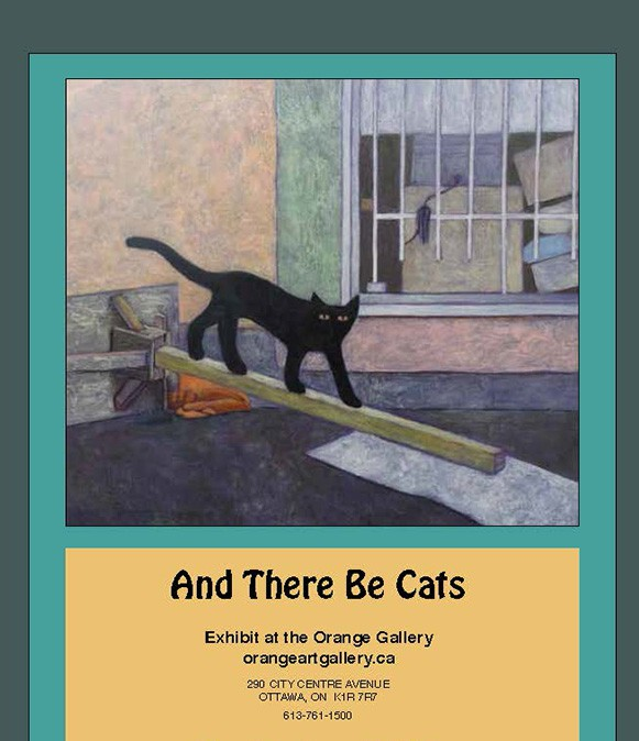 cats. paintings, art work, Gwendolyn Best, Ottawa, Orange Art Gallery, Cats in Art