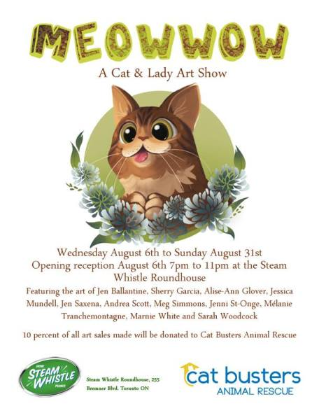 Steam Whistle Brewing, Cats, Cat Art Show, Meow Wow a cat and lady art show, Toronto, Cat busters, cat rescue, Adoption