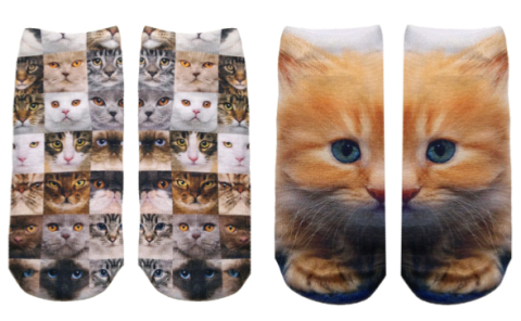 cats, kittens, socks, travel, ankle socksl, for the feet, photo real prints, photographic images, fashion, feline themed socks, Living Royal Socks, orange tabby, domestic cats