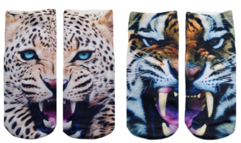cats, kittens, socks, travel, ankle socks, for the feet, photo real prints, photographic images, fashion, feline themed socks, Living Royal Socks, Leopards, Tigers, big cats, roar,