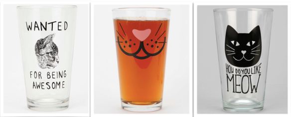 Cats, glasses, House wears, Kitchen accessories, Urban Outfitters, Cat theme glasses, drinking glasses, Beer pints, holiday gifts, house warming gifts, Christmas gifts, gifts,