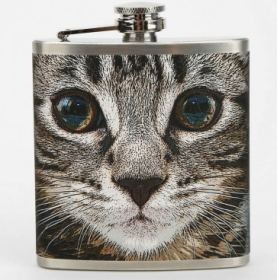 cats, kittens, Mens gifts, Alcohol flask, Tabby cat face flask, Urban Outfitters, Purrito Tee, cat men, holiday gifts, christmas gifts, gifts, presents, shopping
