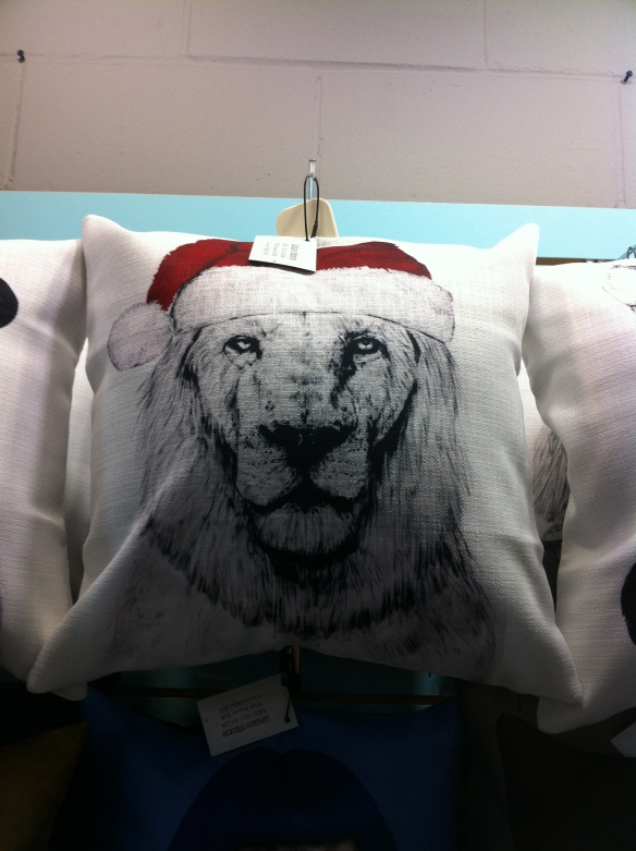 cats, Lions, Big cats in santa hats,Mumoo Pillows, Owl Monkeys, accessories for the home, throw pillows, Toronto, Blue Banana Market, Kensignton Market, cats in Santa Hats, Christmas Gifts, Holiday Gifts, shopping,