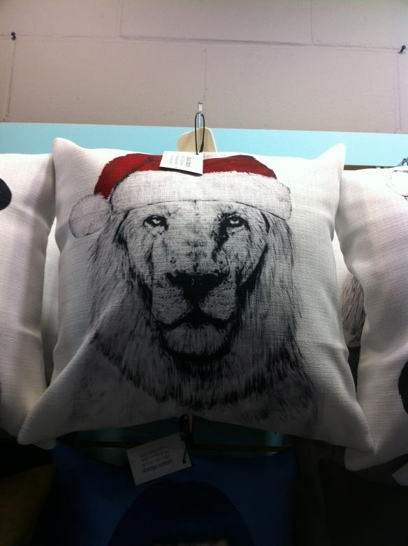 cats, Lions, Big cats in santa hats,Mumoo Pillows, Owl Monkeys, accessories for the home, throw pillows, Toronto, Blue Banana Market, Kensignton Market, cats in Santa Hats, Christmas Gifts, Holiday Gifts, shopping,
