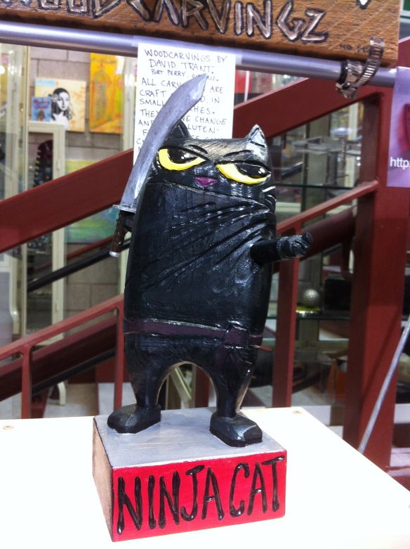 Cats, art, Wood carvings, Christmas gifts, xmas gifts, holiday shopping, Ninja cat, David Trant, Canadian Artist, Toronto, Blue Banana Market, Kensignton Market, cool gifts for cat lovers,