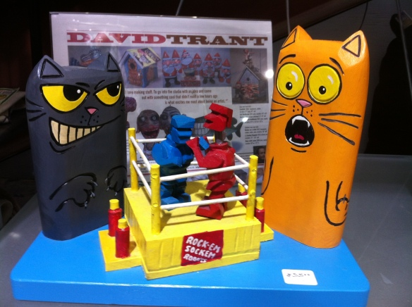 Cats, art, Wood carvings, Christmas gifts, xmas gifts, holiday shopping, Boxing ring cats,, David Trant, Canadian Artist, Toronto, Blue Banana Market, Kensignton Market, cool gifts for cat lovers,