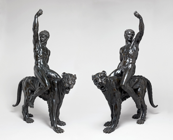 Cats, Cats in Art, Big cats in Art, Panthers, Panthers in Art, Cat Sculptures, Panther sculptures, Bronze Cat sculptures, Bronze Panther sculptures with Nudes, Nude bacchants riding panthers, Michelangelo, Only Surviving metal works by Michelangelo, Cambridge University's Fitzwilliam Museum, Art History, UK,