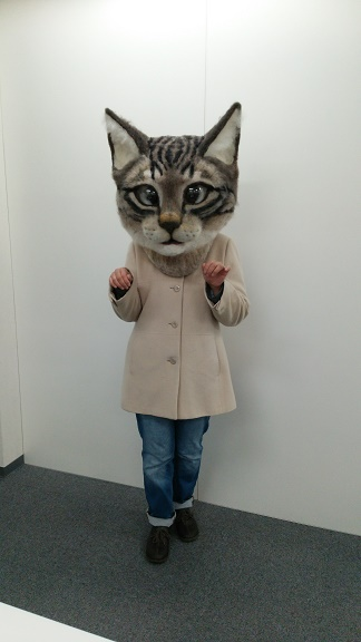 Cats, Japan, Japan school of wool art, Cat masks, Giant cat head masks, Tokyo, Giant Cat Head Mask, Tokyo Metropolitan Art Museum, Art teacher Housetu Sato sewed the giant gray-and-black Tabby head out of wool felt, Made in Japan, Only in Japan, Japans cat obsession, Cat Culture, Art,