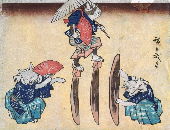 Life of Cats , From the Hiraki Ukiyo E Collection,  Japan Society, Gallery Cats in Japanese Art, Cats in Art, Cat Art, Cats Ukiyo E, Japan, New York, Utagawa Kuniyoshi, famous internet cats, famous cats before the internet