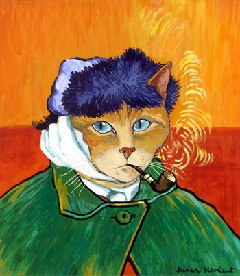 A Cats Gallery of Art, Artist, Susan Herbert, UK, Painting, contemporary cat artists, Cats in paintings, Cats represented in paintings, Cats, Rescue Cats, Cats with one Ear, Van Gogh, Van Gogh the cat, Cat that Paints, post-impressionist cat,  Mayhew Animal Home, London, UK, Rescue Cats UK, Adopt cats, Adopt cats in the UK, Special Needs cats, Stray cats of London, Street cats of London, Adopt don't shop,