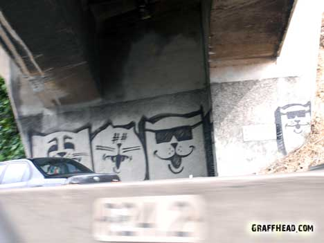 cats, cats in art, cat graffiti, cat graffiti Los Angeles, cat graffiti on freeway 101, cat graffiti on freeway overpasses, cats art in California, There are cats everywhere, Cat inspired art,