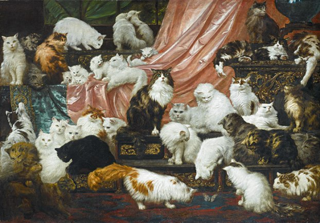 Cats in Art, My Wife's Lovers, Cat paintings, Carl Kahler, Ultimate Cat Painting, Crazy cat Lady, cat portraits, Mrs Kate Johnson, America's greatest cat enthusiast, 19th Century European Art, Sotheby's Auction house, Fine Art,