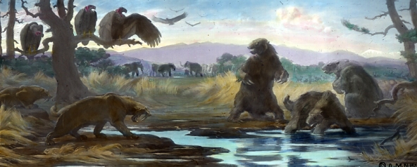 """La Brea Tar Pits"" by Charles Robert Knight - The Jesse Earl Hyde Collection, Case Western Reserve University (CWRU) Department of Geological Sciences. - Wikipedia"