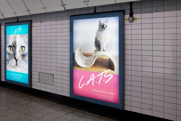 Citizens Advertising Takeover Service (C.A.T.S), London, UK, London Tube, Subway art, Posters in the London Tube, Cats, Advertising, stray cats, adoptable cats, Kickstarter,