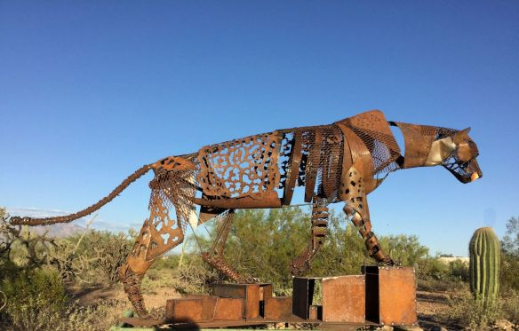 Jaguar, big cats, Arizona, Mexico, endangered species, mexico border wall, Sky Island Alliance, Northern Jaguar Project, Macho B, Corazon, Patricia Frederick, Art, Sculpture, Metal Sculpture, Cats in art, Wildlife, conservation,