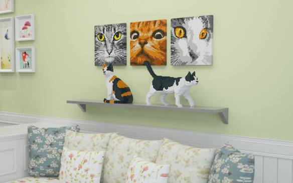 Lego, cats, cat sculpture, Lego for adults, JEKA, cats in art, cat lovers, home decor, assembly required, buildling blocks