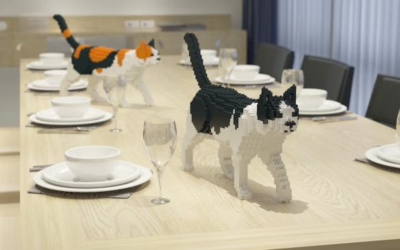 Lego, cats, cat sculpture, Lego for adults, JEKA, cats in art, cat lovers, home decor, assembly required,