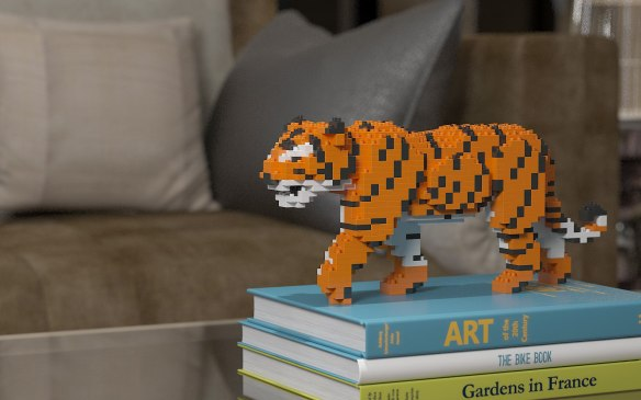 Lego, cats, cat sculpture, Lego for adults, JEKA, cats in art, cat lovers, home decor, assembly required, buildling blocks, Tiger