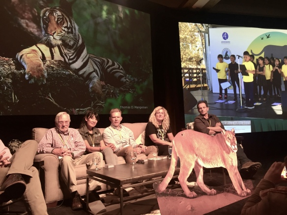 Landscapes, Corridors, P-22, Mountain lions, Save LA Cougars,Jackson Hole, Wildlife Film Festival, Conservation Summit, Big Cats, Wild Cats, Jackson Lake Lodge, Grand Teton National Park, Left to Right Rodney Jackson, Dr. Kim Young-Overton, Peter Lindsey, Beth Pratt- Bergstrom, Leandro Silveira, PhD
